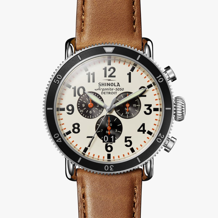 Shinola The Runwell Sport Chronograph 48mm Watch with Ivory Dial