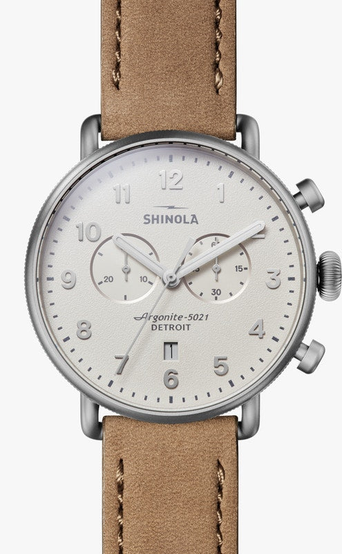 Shinola 'Canfield' Chronograph 43mm Watch with Ivory Dial
