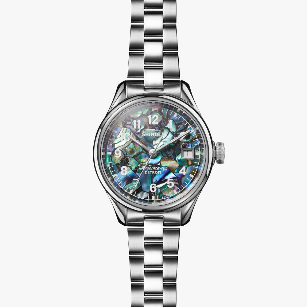 Shinola 'The Vinton' 32mm Watch with Abalone Dial
