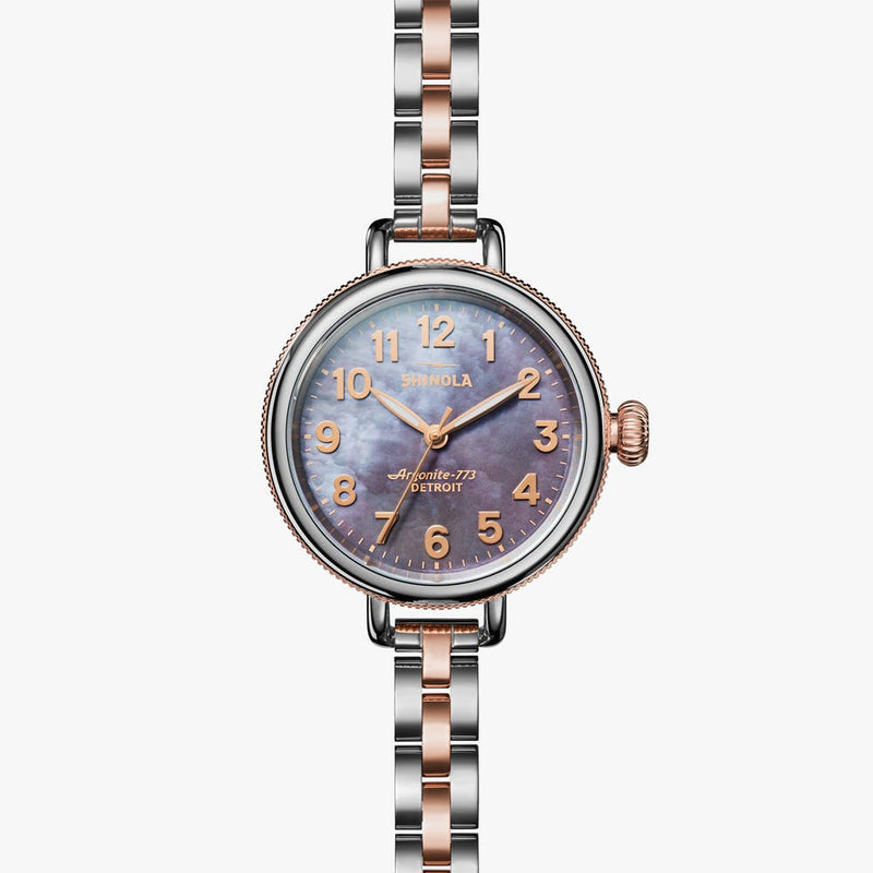 Shinola 'The Birdy' 34mm Watch with Lilac Mother of Pearl Dial