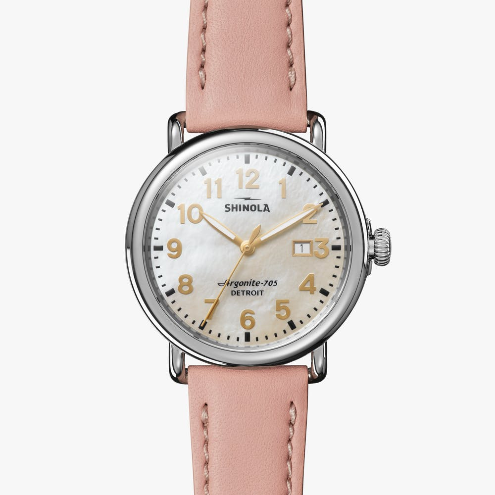 Shinola Runwell 41mm Watch with a White Mother of Pearl Dial