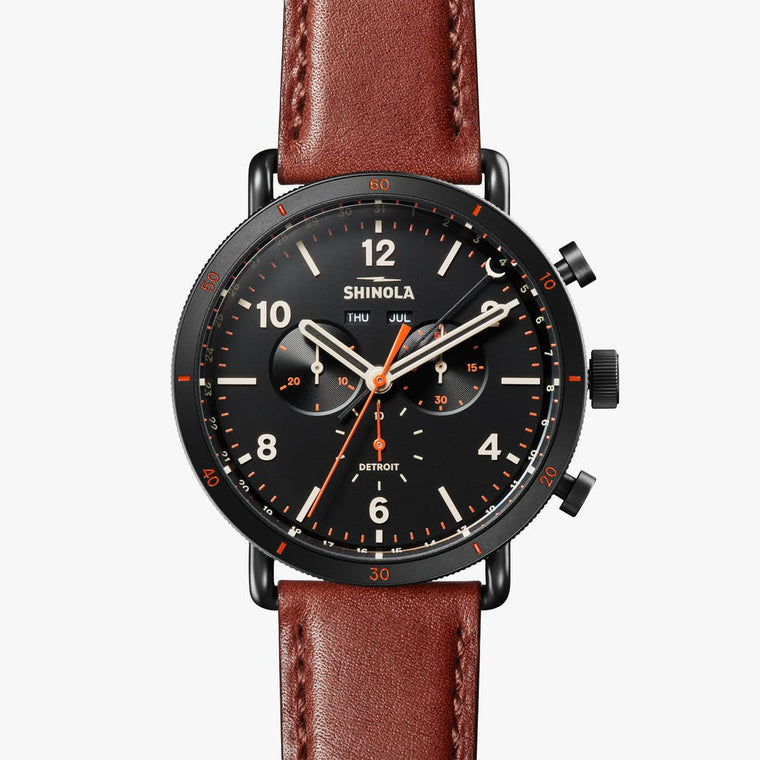 Shinola Runwell Sport Chronograph 48mm Watch with Black Dial