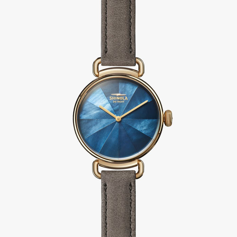 Shinola Canfield 32mm Watch with Blue Mother of Pearl Dial