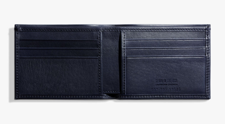 Shinola Slim Bi-Fold Ocean Blue Leather Wallet