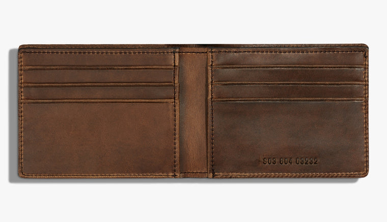 Shinola Slim Bifold 2.0 Medium Brown Leather Wallet