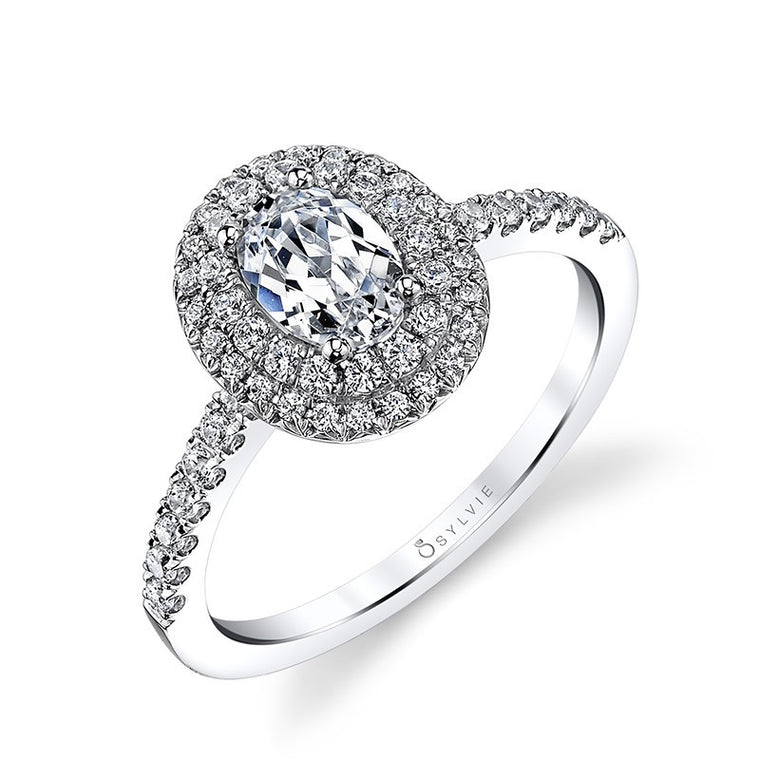 Sylvie 14K Classic Double Halo Oval Engagement Ring