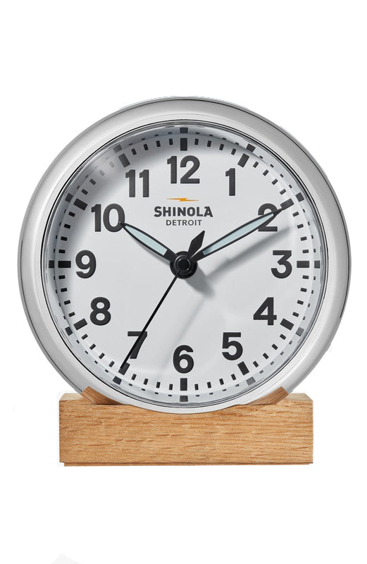 Shinola 'The Runwell' Desk Clock in Chrome with White Dial