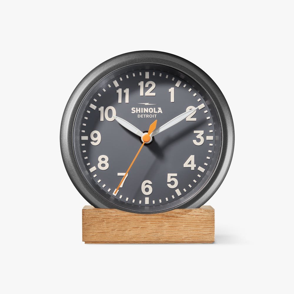 Shinola 'The Runwell' Desk Clock in Black with Grey Dial