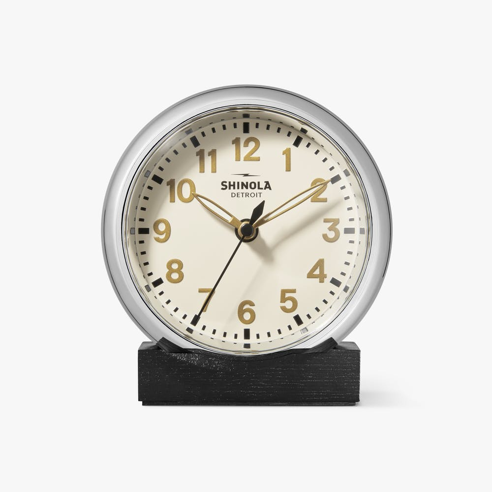 Shinola 'The Runwell' Desk Clock in Chrome with Cream Dial