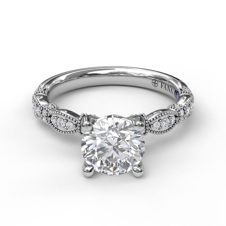 FANA 14k White Gold Scalloped Engagement Ring with Milgrain