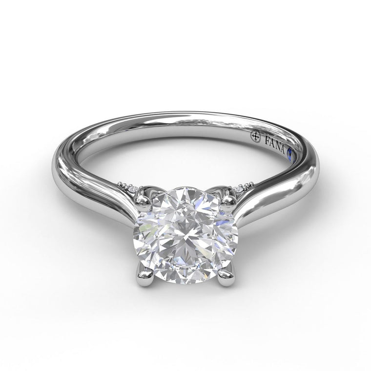 FANA 14k White Gold Solitaire with Diamond Accents