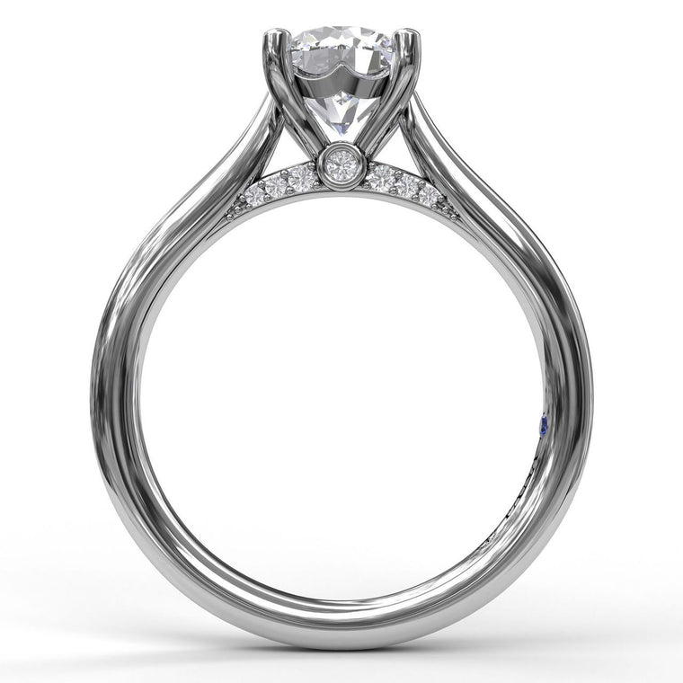 FANA 14k White Gold Cathedral Solitaire Engagement Ring