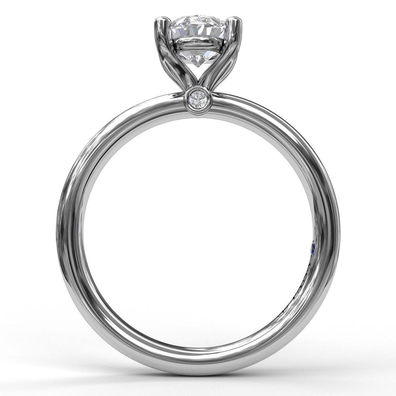 FANA 14k White Gold Solitaire Engagement Ring with Oval Center Diamond