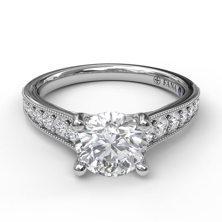 FANA 14k White Gold Engagement Ring with Milgrain