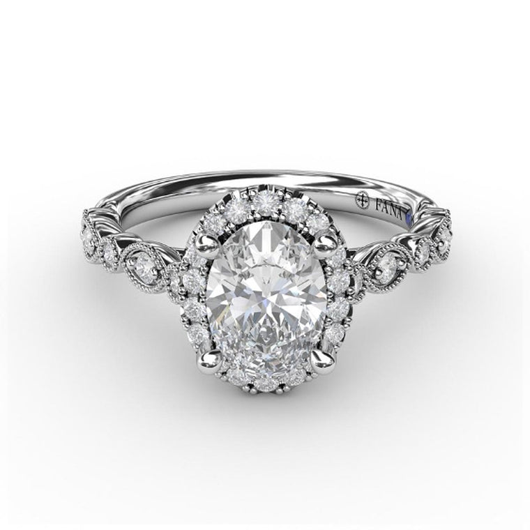 FANA 14k White Gold Engagement Ring with Milgrain Marquise Sections