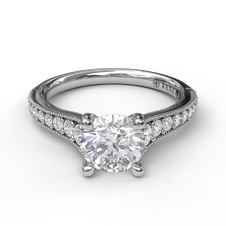 FANA 14k White Gold Classic Engagement Ring with Milgrain Edging