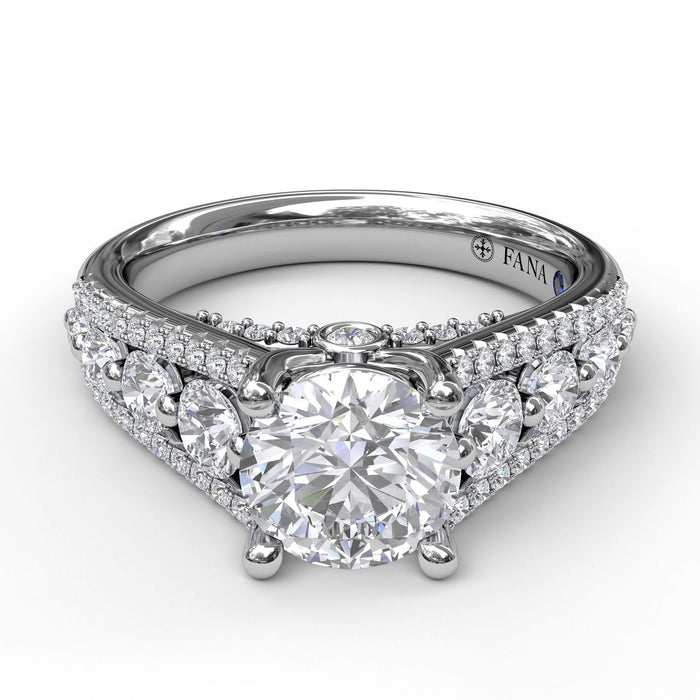 FANA 14k White Gold Cathedral Engagement Ring with .80ctw Diamonds