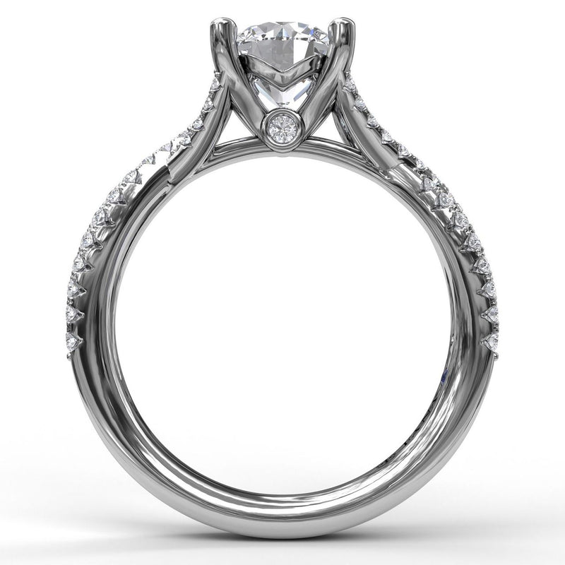 FANA 14k White Gold Twisted Shank Engagement Ring