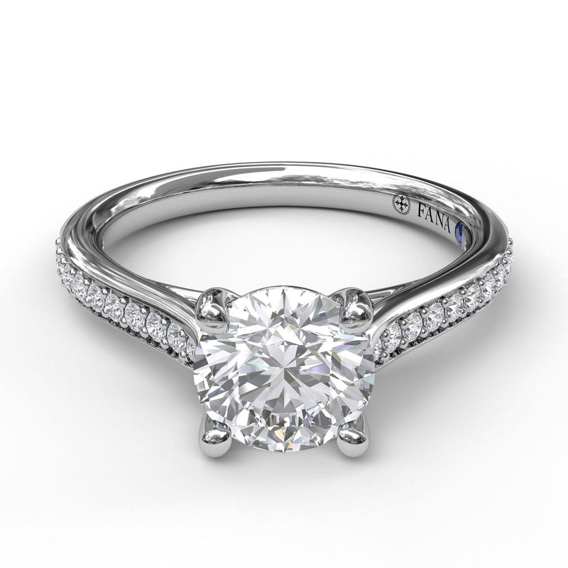 FANA 14k White Gold Cathedral Engagement Ring