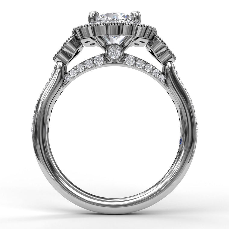 FANA 14k White Gold Cushion Halo Engagement Ring with Milgrain