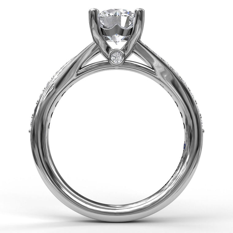 FANA 14k White Gold Split Shank Engagement Ring
