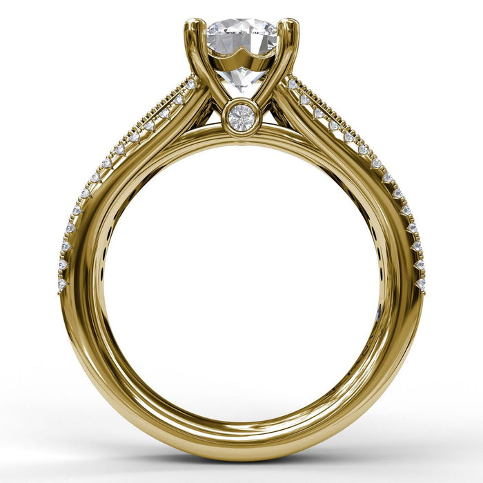 FANA 14k Yellow Gold Engagement Ring with .48ctw Diamonds and Milgrain