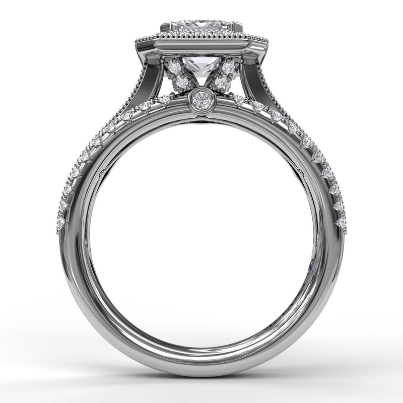 FANA 14k White Gold Emerald Halo Engagement Ring