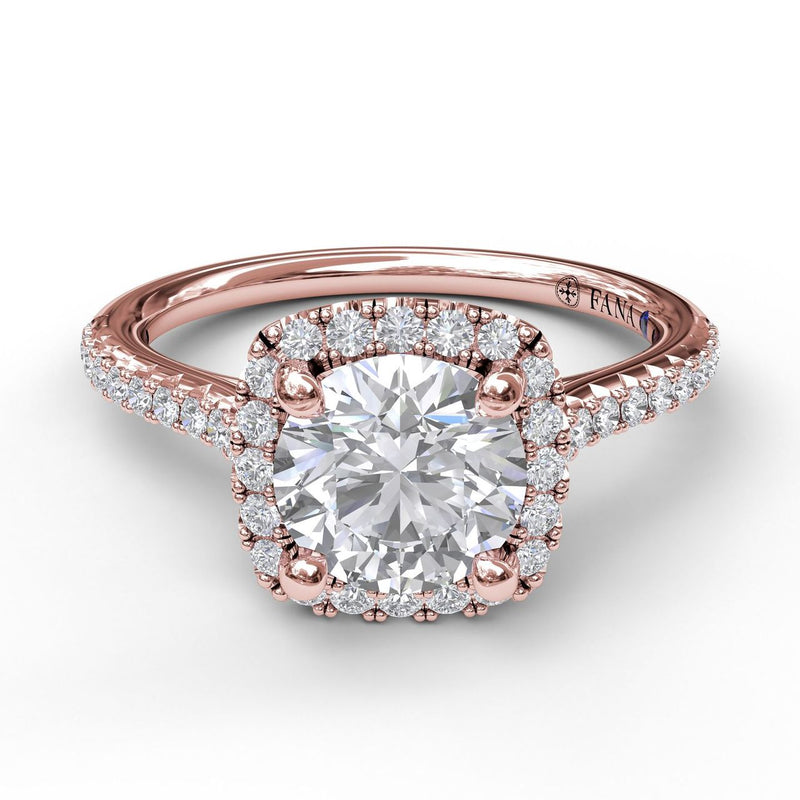 FANA 14k Rose Gold Halo Engagement Ring