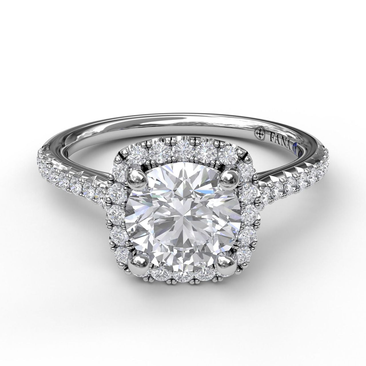 FANA 14k White Gold Halo Engagement Ring