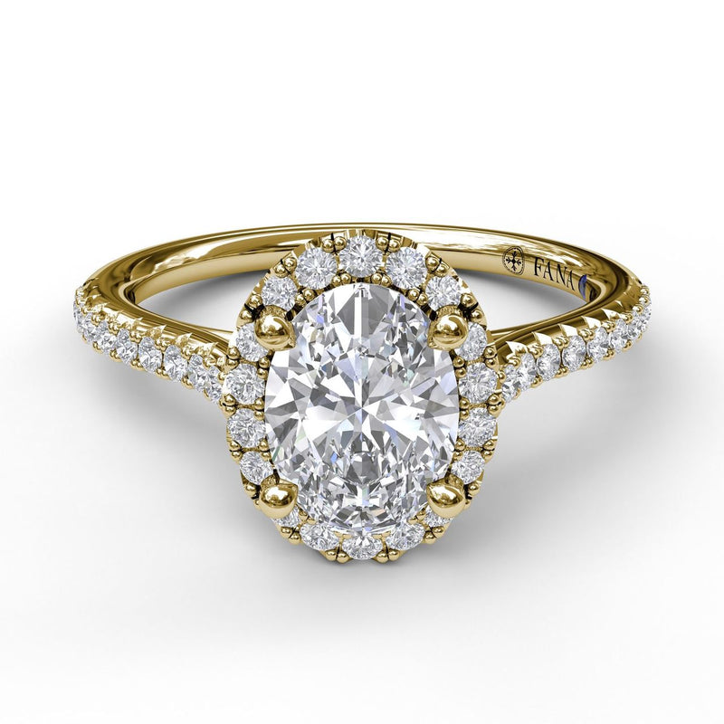 FANA 14k Yellow Gold Oval Halo Engagement Ring