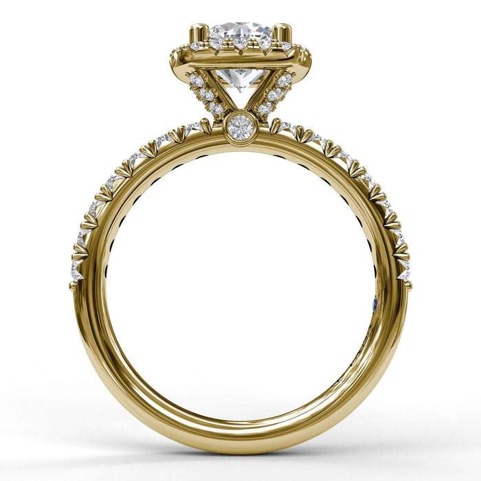 FANA 14k Yellow Gold Cushion Halo Engagement Ring