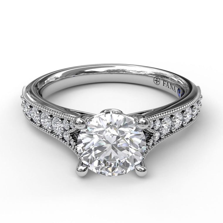 FANA 14k White Gold Cathedral Engagement Ring with Milgrain