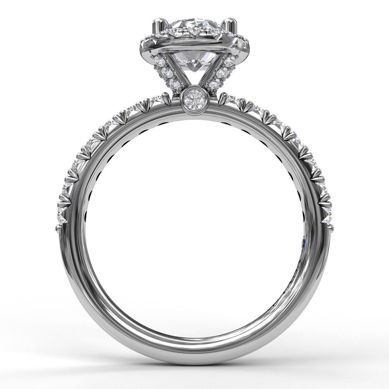 FANA 14k White Gold Oval Halo Engagement Ring