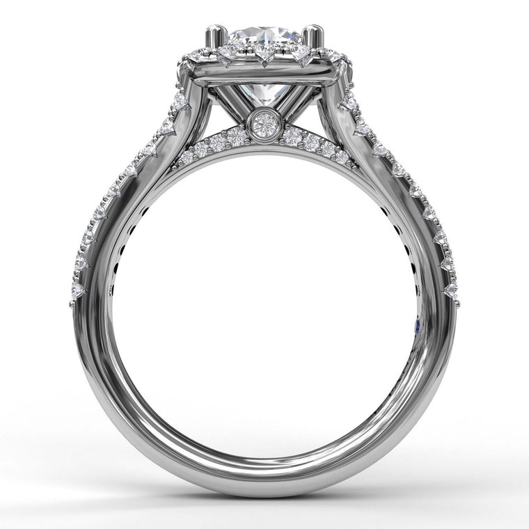 FANA 14k White Gold Cushion Halo Engagement Ring