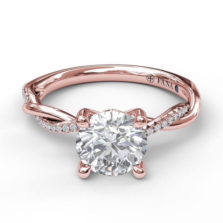 FANA 14k Rose Gold Engagement Ring with .09ctw Diamonds