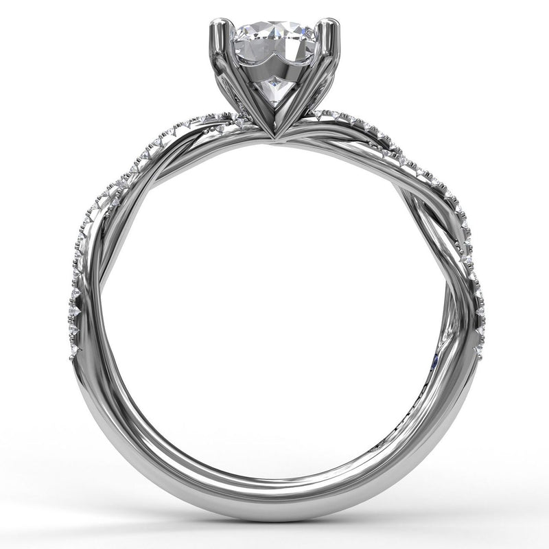 FANA 14k White Gold Engagement Ring with .19ctw Diamonds