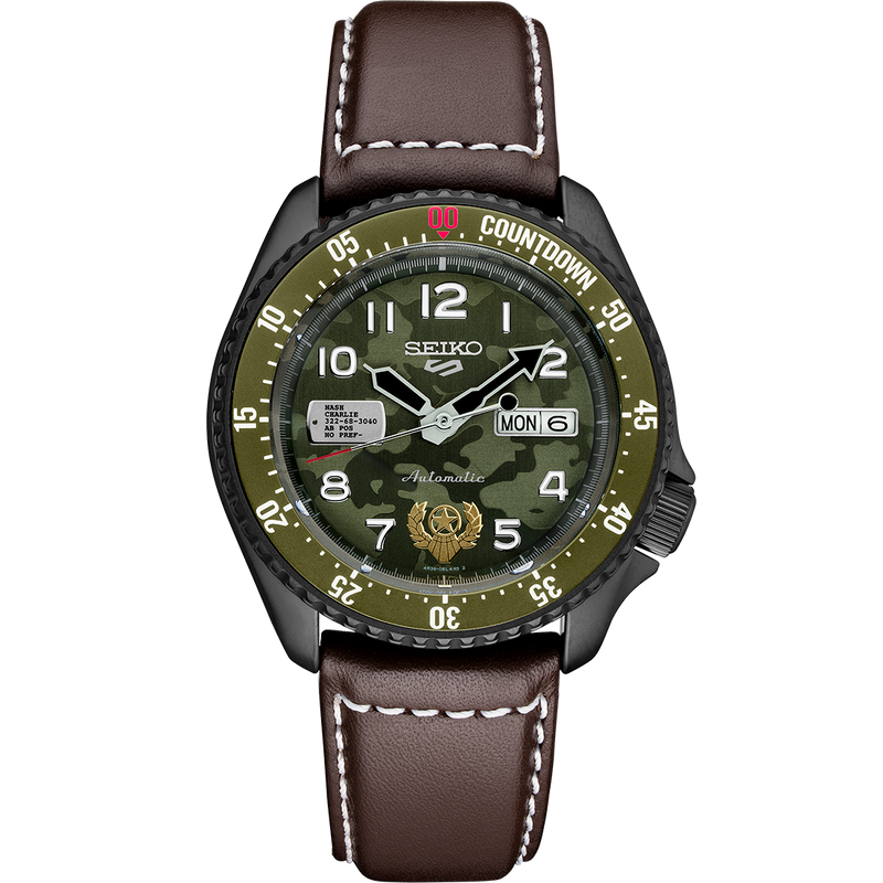 Limited Edition Seiko 5 Sport Watch with Green Camouflage Dial