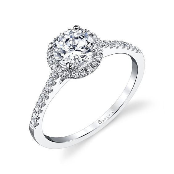 Sylvie 14K White Gold Halo Engagement Ring