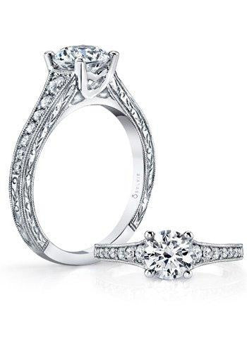 Sylvie 14K Engagement Ring with Tapered Shank
