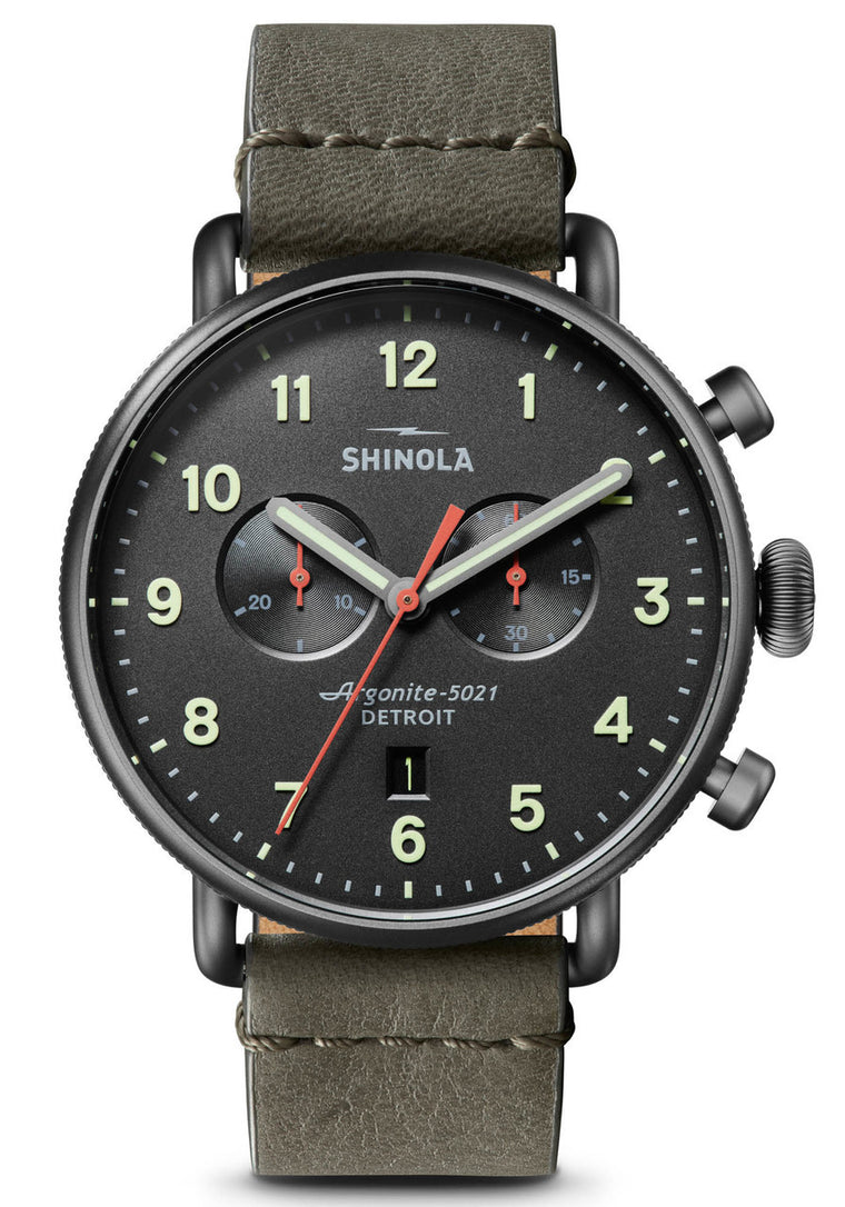 Shinola 'Canfield Chronograph' 43mm Watch with Gunmetal Dial