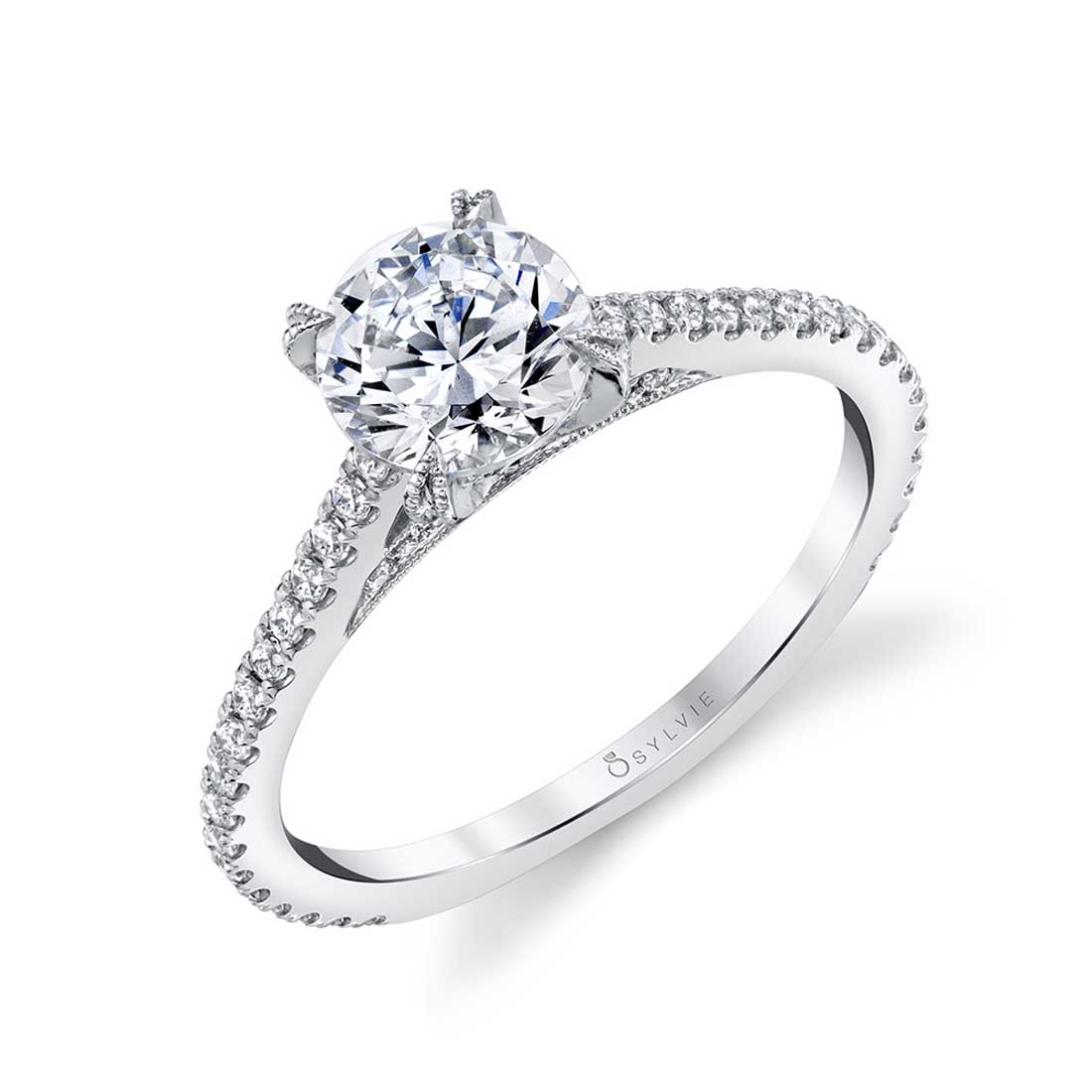 Sylvie Jeannette 14k White Gold Engagement Ring