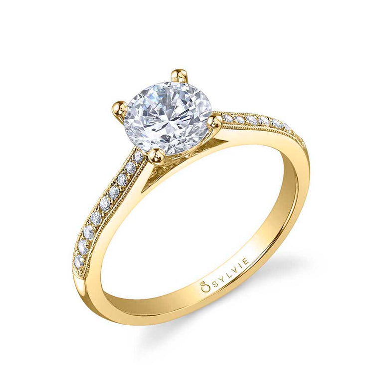 Sylvie Nathalie 14k Yellow Gold Engagemennt Ring with Milgrain