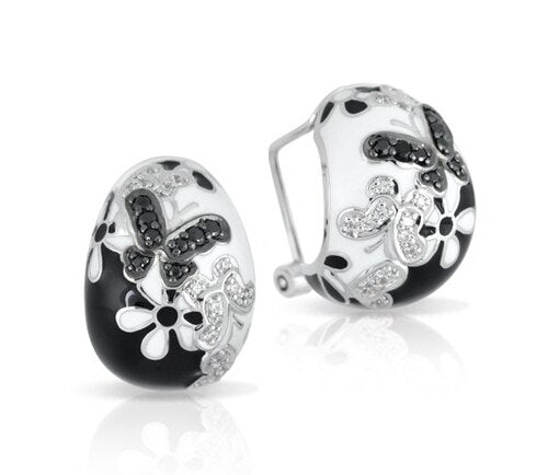 Belle Etoile 'Flutter' Black & White Earrings