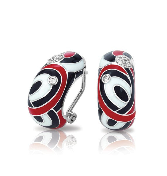 Belle Etoile 'Vortice' Earrings in Red, White, & Black