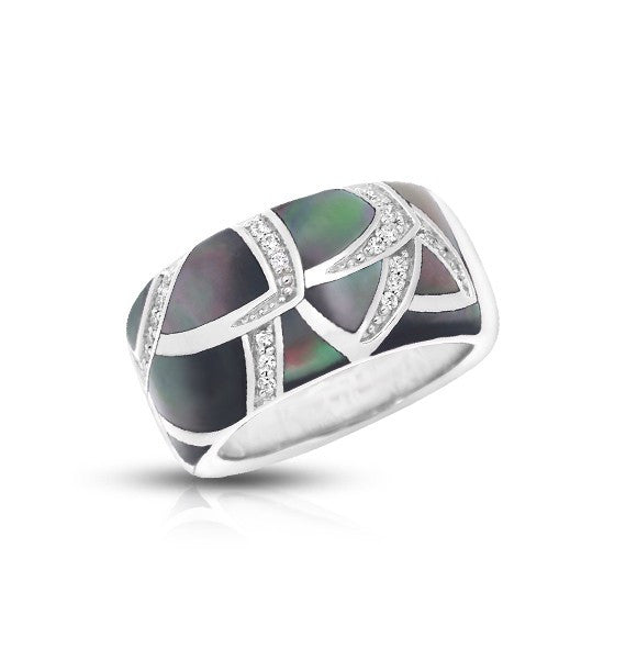Belle Etoile 'Sirena' Ring with Black Mother of Pearl