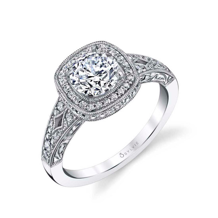 Sylvie 'Marlene' Cushion Halo Engagement Ring