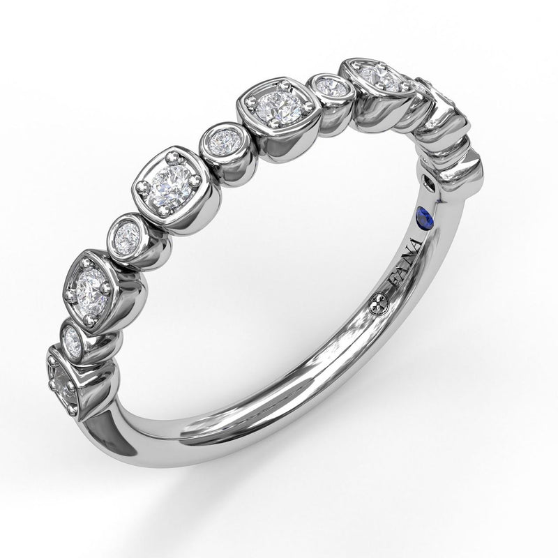 FANA 14k White Gold Wedding Band with .19ctw of Diamonds