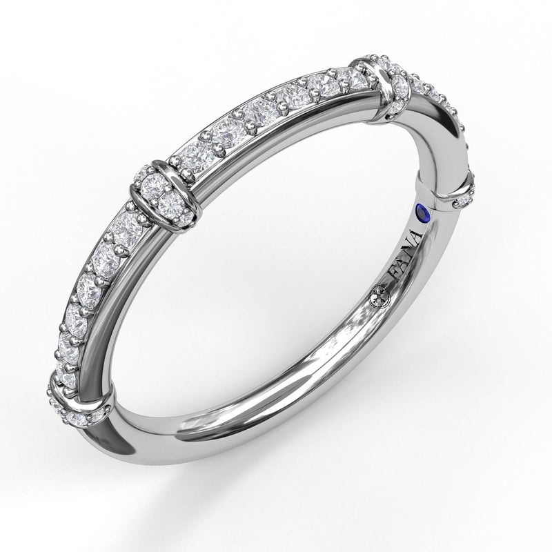 FANA 14k White Gold Wedding Band with Diamond Stations