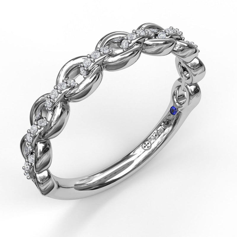 FANA 14k White Gold Wedding Band with Diamonds