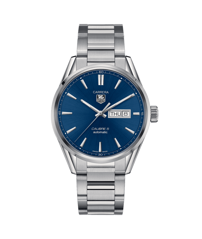 TAG Heuer Carrera Day and Date 41mm Watch with Blue Dial